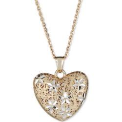 Italian Gold Two-Tone Filigree Heart 18