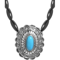 American West Agate and Turquoise Gemstone Necklace in Sterling Silver