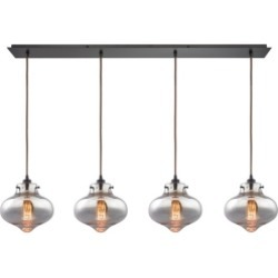 Kelsey 4 Light Pendant in Oil Rubbed Bronze and Mercury Glass