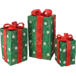 Northlight Set of 3 Tall Green Sisal Gift Boxes Lighted Christmas Yard Decor found on Bargain Bro India from Macy's for $168.99