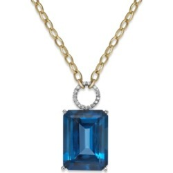 Blue Topaz (26 ct. t.w.) and Diamond (1/6 ct. t.w.) Statement Necklace in 14k Gold found on Bargain Bro India from Macy's Australia for $4607.05