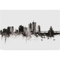 Michael Tompsett Cedar Rapids Iowa Skyline Black White Canvas Art - 15