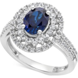 Lab-Created Blue Sapphire (1-3/4 ct. t.w.) & White Sapphire (1/2 ct. t.w.) Ring in Sterling Silver