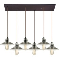 Hammered Glass Collection 6 light pendant in Oil Rubbed Bronze