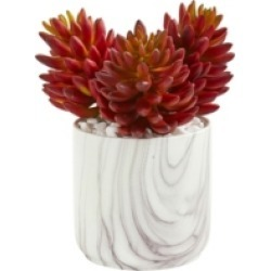 """Nearly Natural 10"""" Succulent Artificial Plant in Marble Finish Vase"""