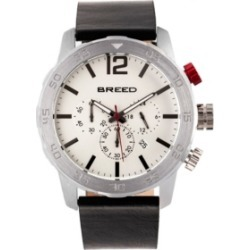 Breed Quartz Manuel Chronograph Silver Genuine Leather Watches 46mm found on Bargain Bro from Macys CA for USD $93.27