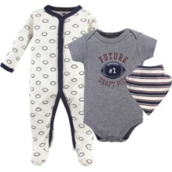 Hudson Baby Sleep and Play, Bodysuits and Bandana Bibs, 3-Piece Set, 0-9 Months