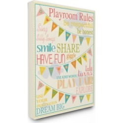 """Stupell Industries Home Decor Playroom Rules with Pennants In Pink Canvas Wall Art, 16"""" x 20"""""""