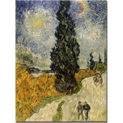 Vincent van Gogh, 'Road with Cypresses, 1890' Canvas Art - 47