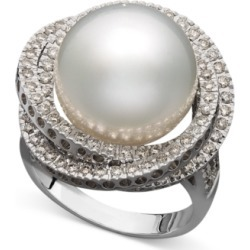 14k White Gold Ring, Cultured South Sea Pearl (13mm) and Diamond (1...