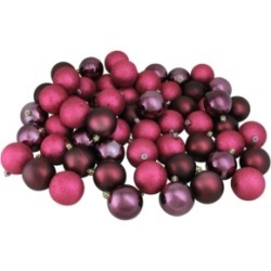 Northlight 60ct Mulberry Red Shatterproof 4-Finish Christmas Ball Ornaments 2.5