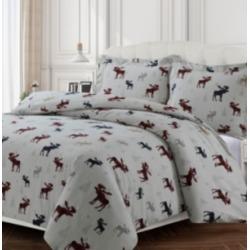 Plaid Moose Cotton Flannel Printed Oversized King Duvet Set Bedding