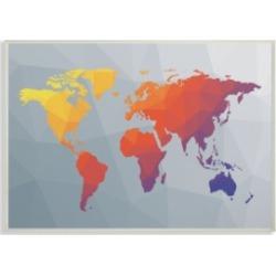 Stupell Industries Polygonal World Map Wall Plaque Art, 10