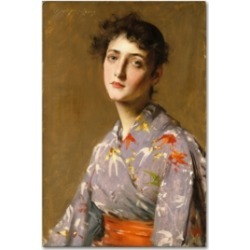 "William Merritt Chase 'Girl In A Japanese Costume' Canvas Art - 19"" x 12"" x 2"""