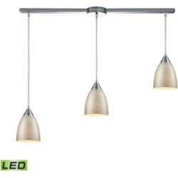 Merida 3 Light Linear Bar Pendant in Polished Chrome with Silver Linen Glass
