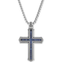 "Esquire Men's Jewelry Sapphire Cross 22"" Pendant Necklace (5/8 ct. t.w.) in Sterling Silver, Created for Macy's"