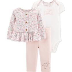 Carter's Baby Girls 3-Pc. Jacket, Bodysuit & Pants Cotton Set