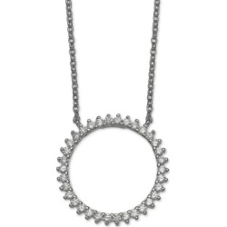 "Giani Bernini Cubic Zirconia Circle 18"" Pendant Necklace in Sterling Silver, Created for Macy's"