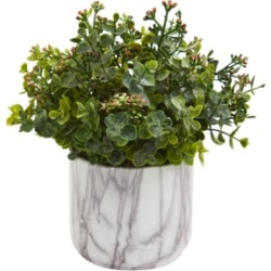 Nearly Natural Eucalyptus Artificial Plant in Marble Finished Vase