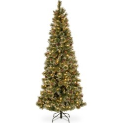 National Tree Company 7.5' Glittery Bristle Slim Pine Hinged Christmas Tree with White Tipped Cones and 500 Clear Lights