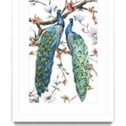 "Giant Art Paradis Birds I Matted and Framed Art Print, 36"" x 52"""