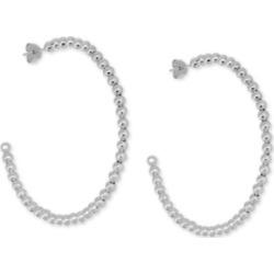 Essentials Large Beaded C-Hoop Fine Silver Plate Earrings 2-1/3