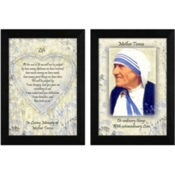 "Trendy Decor 4U Life Quotes by Mother Teresa Collection, Printed Wall Art, Ready to hang, Black Frame, 10"" x 14"""