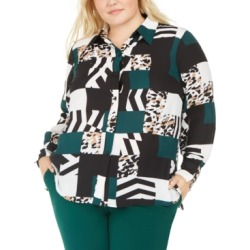 Bar Iii Trendy Plus Size Printed Button-Up Blouse, Created For Macy's
