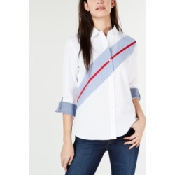 Tommy Hilfiger Colorblocked Cotton Button-Down Shirt found on MODAPINS from Macy's for USD $27.73