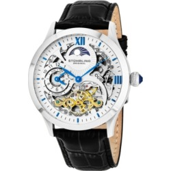 Stuhrling Original Stainless Steel Case on Black Alligator Embossed Genuine Leather Strap, White Skeletonized Dial, With Blue, Gold Tone, and Black Accents found on Bargain Bro Philippines from Macy's Australia for $266.11