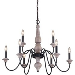 Vaxcel Georgetown Wood and Farmhouse 9 Light Chandelier
