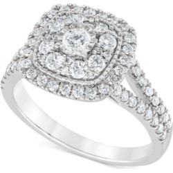 Diamond Multi-Layer Square Halo Engagement Ring (1 ct. t.w.) in 14k White Gold found on Bargain Bro India from Macy's for $1360.00