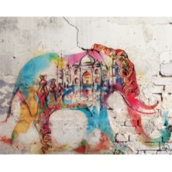 "Creative Gallery Taj Mahal Elephant Graffiti in Red 24"" x 20"" Canvas Wall Art Print"