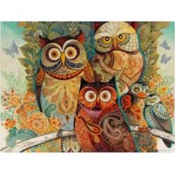 David Galchutt Owls on Floral Branch Canvas Art - 19.5