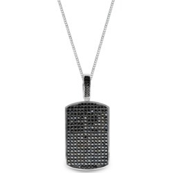 Sutton Sterling Silver Black Cubic Zirconia Dog Tag Pendant Necklace found on Bargain Bro India from Macy's Australia for $388.45