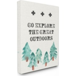 """Stupell Industries Go Explore The Great Outdoors Tree Line Drawing Canvas Wall Art, 30"""" x 40"""""""