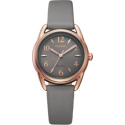 Drive From Citizen Eco-Drive Women's Gray Leather Strap Watch 30mm