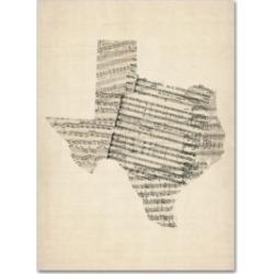 """Michael Tompsett 'Old Sheet Music Map of Texas' Canvas Art - 14"""" x 19"""""""