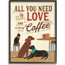 """Stupell Industries All You Need is Love and Coffee Cats Dogs Framed Giclee Art, 16"""" x 20"""""""
