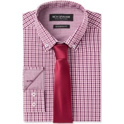 Nick Graham Men's Fitted Multi Gingham Dress Shirt & Micro Solid Dobby Tie Set found on Bargain Bro India from Macys CA for $42.69
