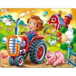 Larsen Puzzles Farm Kid With Tractor Educational Jigsaw Puzzle 15 Piece Tray Frame Style Puzzle