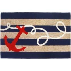 """Liora Manne Frontporch Anchor Blue 5' x 7'6"""" Area Rug"""
