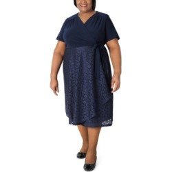 Robbie Bee Plus Size Surplice-Top Lace-Skirt Dress found on Bargain Bro from Macy's Australia for USD $39.88