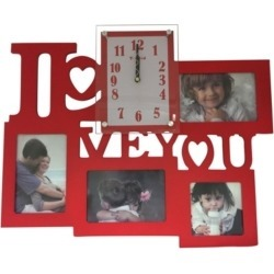 Creative Motion I Love You Clock with 4 Photo Frames