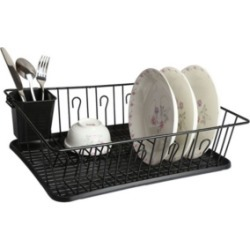 """MegaChef 17.5"""" Black Dish Rack with 14 Plate Positioners and Detachable Utensil Holder"""