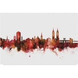 "Michael Tompsett Kassel Germany Skyline Red Canvas Art - 37"" x 49"""
