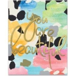 "You Are Beautiful Embellished Canvas Art - 16"" W x 20"" H x 1.25"" D"