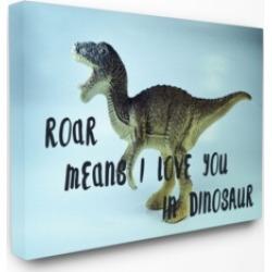 "Stupell Industries Roar is I Love You in Dinosaur Canvas Wall Art, 24"" x 30"""