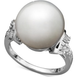 14k White Gold Ring, Cultured South Sea Pearl (13mm) and Diamond (1/4...