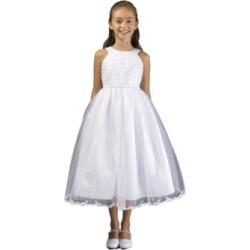 Bonnie Jean Big Girl Embroidered Communion Dress